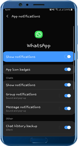 التاكد من تشغيل الاشعارات في تطبيق الواتساب
