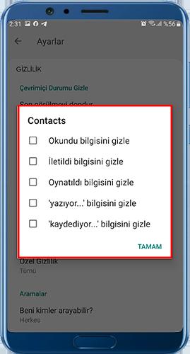 gbwhatsapp pro indir Gizlilik ayarları
